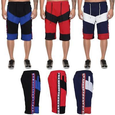 LR Men's 90's Urban Streetwear Cotton Striped Casual Gym Drawstring Sweat Shorts