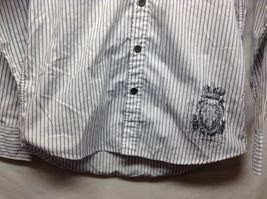 Men's Level Ten White w Gray Vertical Stripes Long Sleeve Shirt Sz M image 3