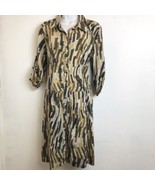 Mlle Gabrielle Sz XL Shirt Dress 3/4 Sleeve Brown Geometric Cotton Butto... - $17.75