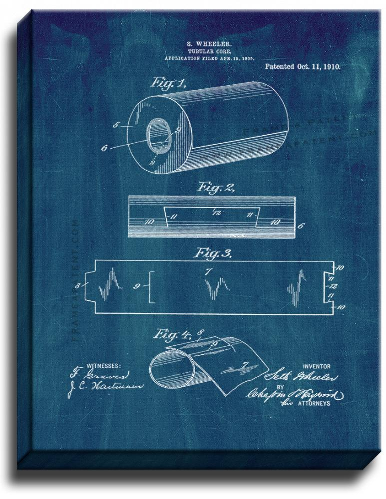 Primary image for Tubular Core of Toilet Paper Roll Patent Print Midnight Blue on Canvas