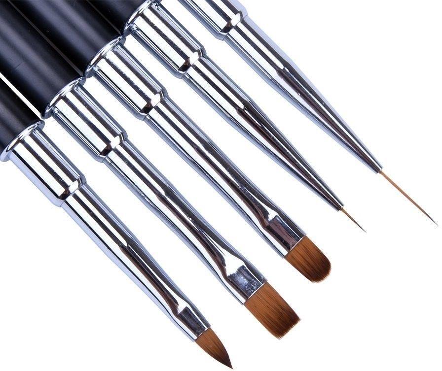 Ycyan 5Pcs UV Gel Nail Brush Set Rhinestone Handle Brushes Nails Art Design Kit