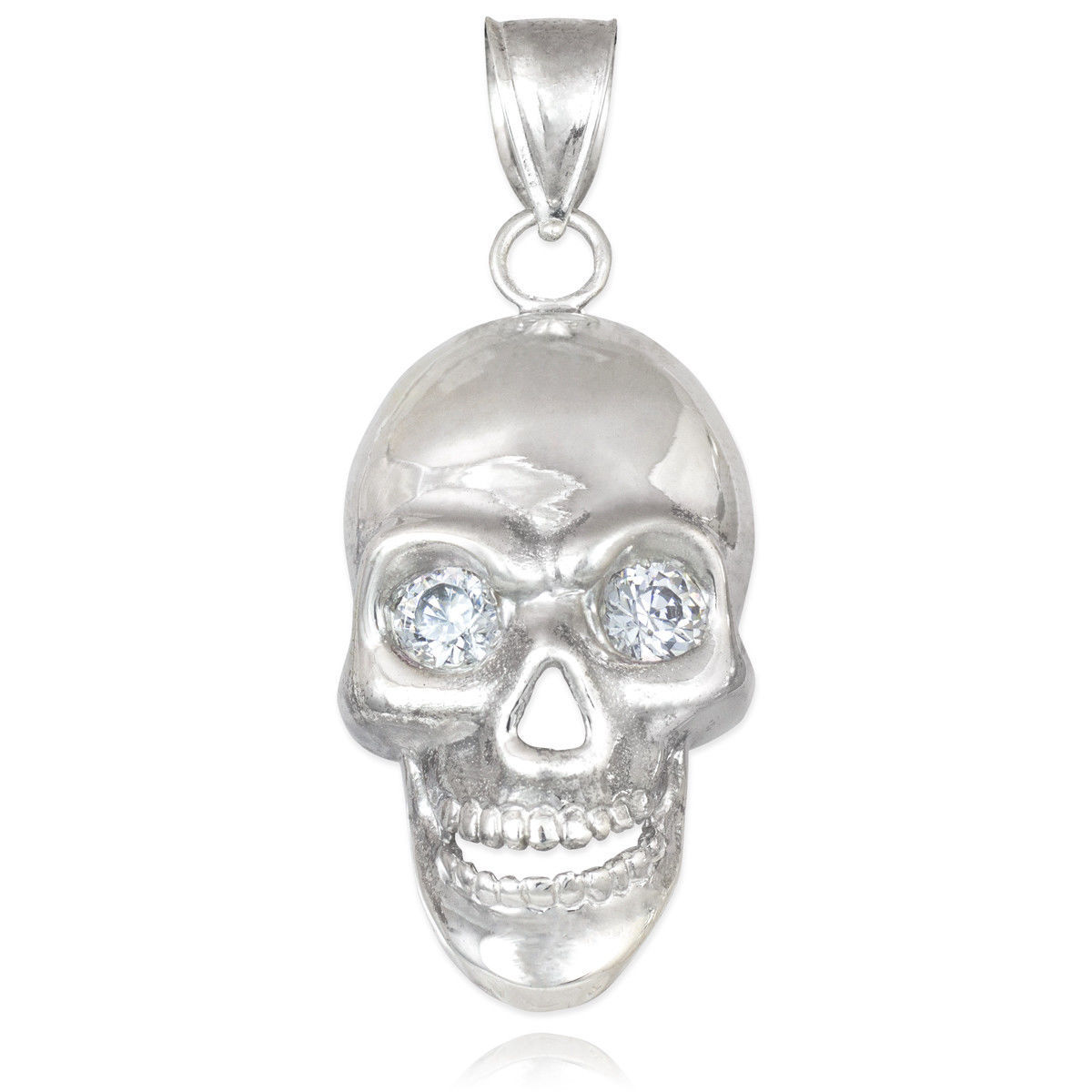 Sterling Silver Polished Skull With Clear CZ Eyes Pendant image 2