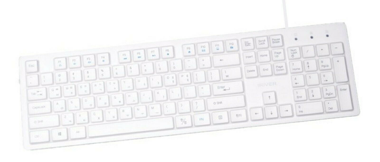 iRiver Korean English Keyboard USB Wired Membrane Cover Skin Protector (White)