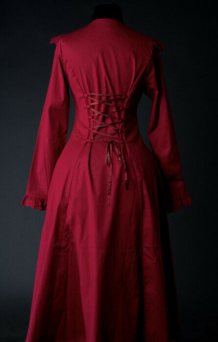 Red Victorian Gothic Corset Back Jacket Long Flared Flowing Steampunk Coat