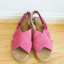 Aerosoles Badlands Sandals Red Fabric Criss Cross Elastic Adjustable Siz... - $29.69