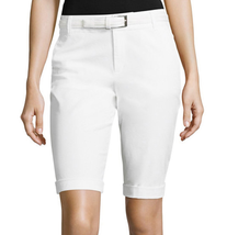 Liz Claiborne White Belted Roll-Cuff Poplin Walking Shorts Size 18 New - $16.99