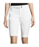 Liz Claiborne White Belted Roll-Cuff Poplin Walking Shorts Size 18 New - $14.99