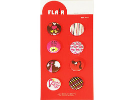 American Crafts I Heart U Flair Bee Mine Adhesive Badges (Stickers), 8 Count