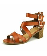 new in box Material Girl Womens Danee Open Toe Casual Strappy Sandals Cognac 6 - $38.22