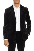 NEW FRAME NOIR BLACK SLIM FIT STRETCH VELVET BLAZER JACKET SIZE M - $217.36