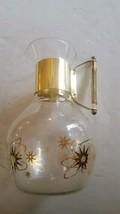 Corning Brand Glass Pitcher Jug Carafe Gold Atomic Star Mid Century Design - $29.69