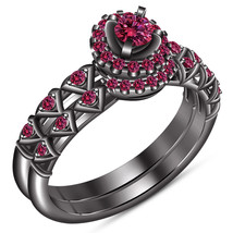 Round Cut Pink Sapphire 14k Black Gold Plated 925 Silver Bridal Wedding ... - $106.80