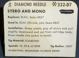 332-D7 STYLUS NEEDLE for ELAC MIRACORD STS-244 STS-444-C Sears 8827 image 2