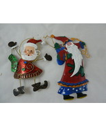 "Tin Santa Claus Christmas Ornaments 5"" & 6"" Metal - $11.87"