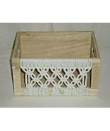 "HD DESIGNS Wooden Décor Box with macramé front & side handles 10""W x 7""D... - $10.88"