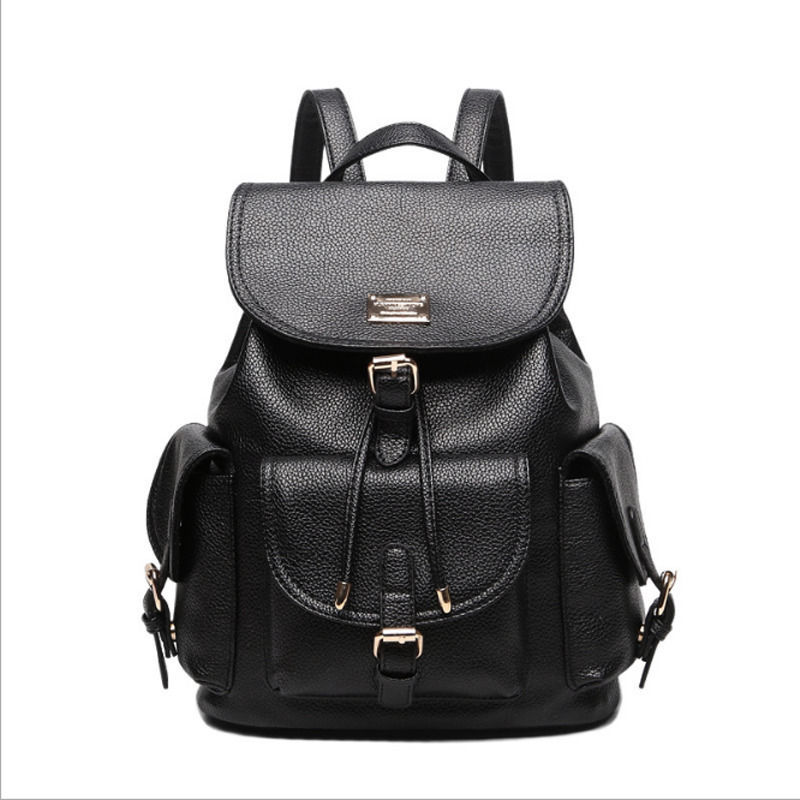Primary image for Women Fashion Schoolbag Backpack Multiple pockets Travelling Bag All-match Black