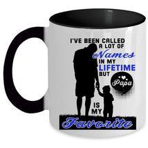 Funny Papa Coffee Mug, Papa Is My Favorite Name Accent Mug - $19.99+