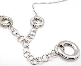 Silver necklace 925 Chain Rolo, Circles Pendants, processed and martellati image 3