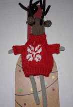 Christmas Knit Reindeer Wine Bottle Topper Jingles & Joy Seasonal NEW Gift - $2.45