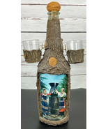 Austria Alps Tree Bark Covered Glass Decanter With 2  Shot Glasses Vinta... - $33.33