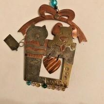 Chicos Dog Cat Metal Ornament Christmas Wall Decor Dangle Heart Beaded V... - $38.79