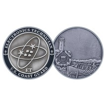"USCG COAST GUARD ELECTRONICS ET 1.75"" CHALLENGE COIN - $17.14"