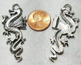 LARGE DRAGON FINE PEWTER PENDANT CHARM 49x20x3mm image 3