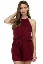 One Piece Burgundy Sleeveless Romper Ribbed Front Tie Shorts Jumpsuit Si... - $30.62 CAD