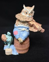 Owl and Turtle Musicians Miniature Figurine 3 3/8 inches tall AVON 1994 - $5.93