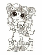 Cute Girl Holding Dog Stamp w/Die - Great for Coloring with Alcohol Markers!