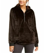 Ideology Faux-Fur Soft Pullover Quarter-Zip Fall/Winter Cozy Hoodie Blac... - $23.04