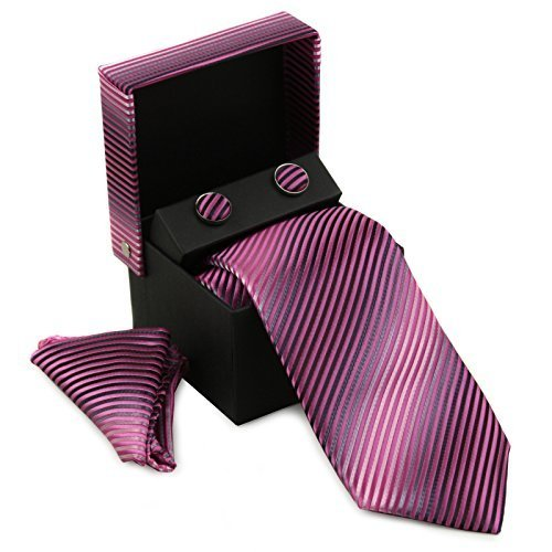 Berlioni Men's Silk Neck Tie Box Set With Cufflinks & Pocket Square (2106 - Pink