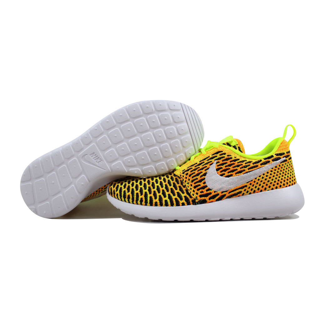 983875df77405 Nike Roshe One Flyknit Volt White-Total Orange-Black 704927-702 Women s SZ 8