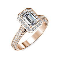 1CT Emerald Cut Moissanite Halo Diamond Pave Set Engagement Ring 14K Rose Gold - $2,490.00