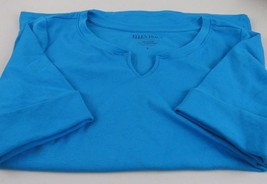 ELLEN TRACY Women's Size Small Stretch Knit Top Small Cotton Blend Notched Neck  - $12.86