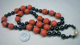 Estate Carved Cinnabar Onyx Beads Necklace Long Strand - $94.99