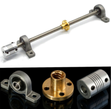 T8 600mm Stainless Steel Lead Screw Set with Mounted Ball Bearing and Shaft - $21.70