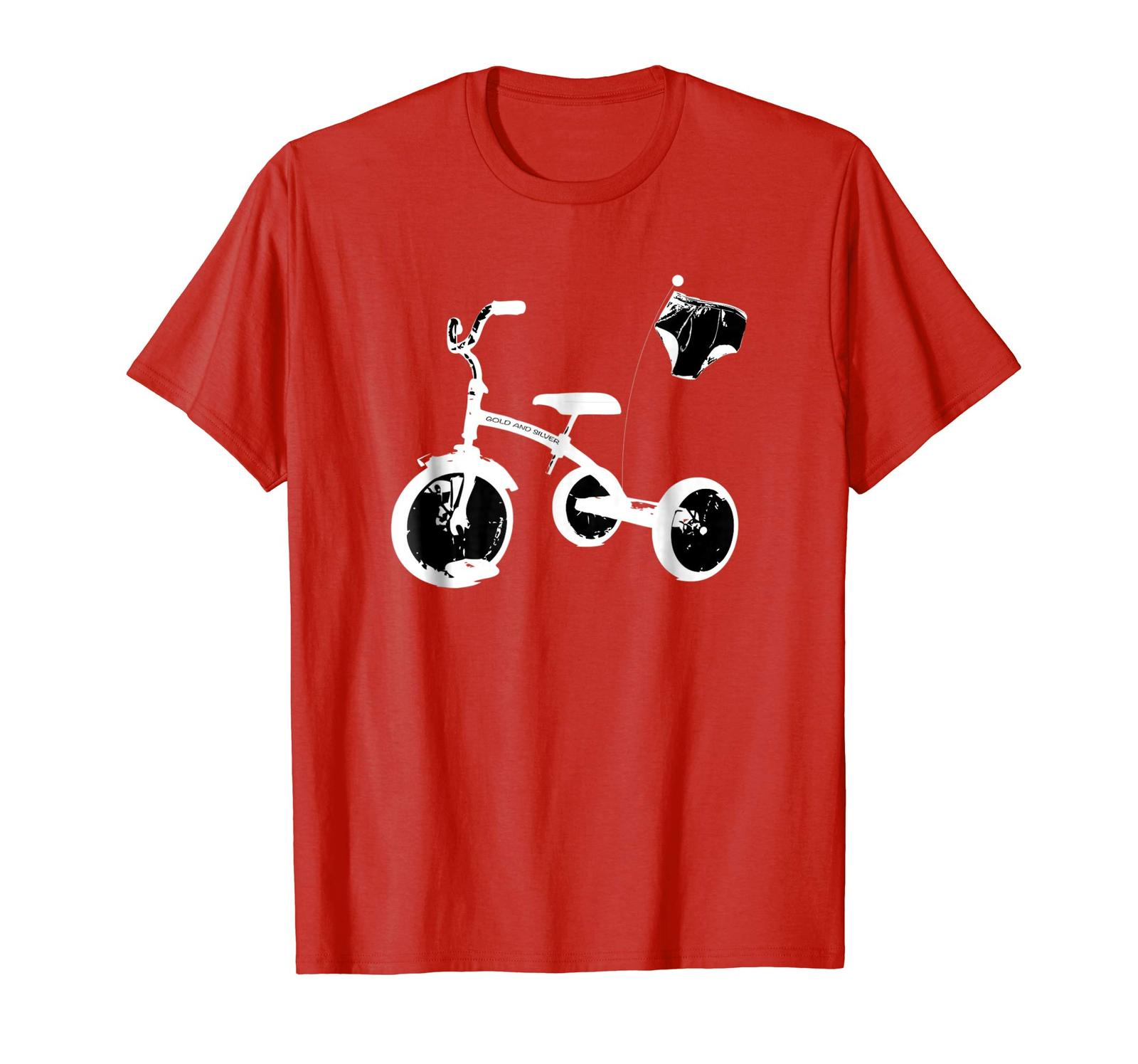 Uncle Shirts -   Underwear Tricycle Race funny graphic t shirt White Men