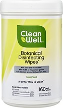 CleanWell Botanical Disinfecting Wipes - Lemon Scent, 160 Count - Plant-Based, B