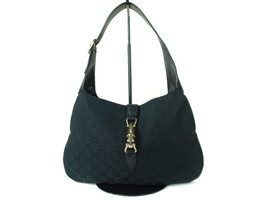 Authentic GUCCI GG Pattern Canvas, Leather Black Shoulder Bag GS9168L - $198.00
