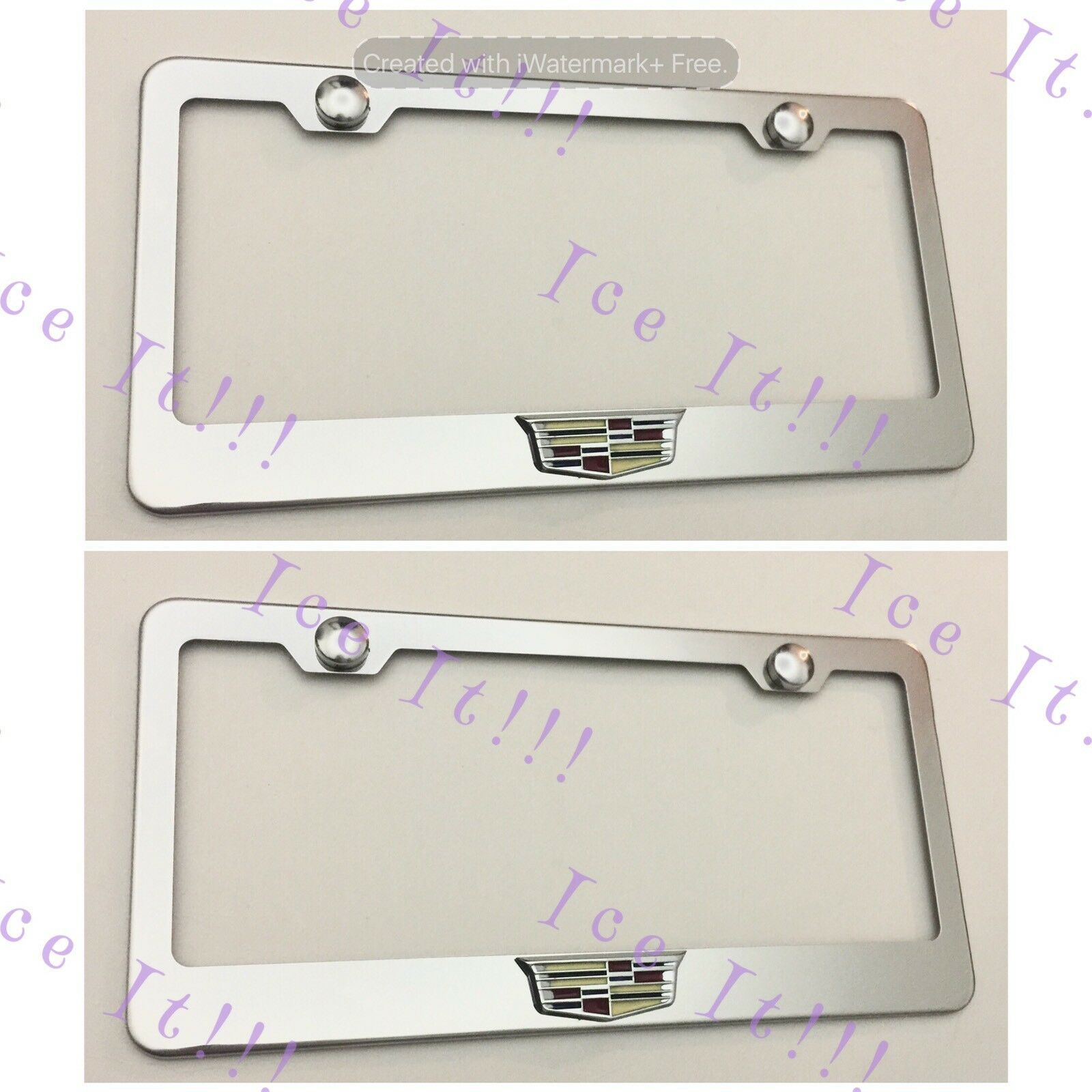 2X 3D For Cadillac ATS CTS SRX Emblem Stainless Steel License Plate Frame W Caps - $35.63