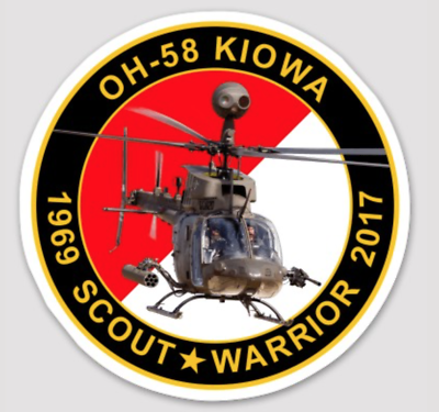 "Primary image for US ARMY OH-58 KIOWA 4"" COMMEMORATIVE STICKER"