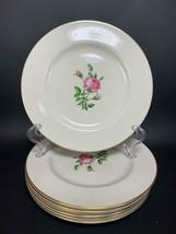 """Set of 7 WESTPORT Fine China Salad Plate 8.25"""" Gold Trim MORNING ROSE Roses - $23.50"""