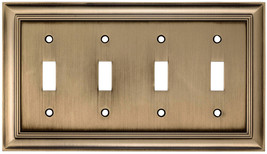 allen + roth Cosgrove 4-Gang Antique brass Quad Toggle Wall Plate - $26.77