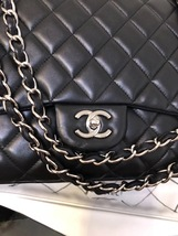 AUTH CHANEL BLACK QUILTED LAMBSKIN LEATHER MAXI CLASSIC FLAP BAG SHW image 7