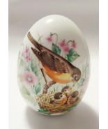 "Avon Spring Easter Porcelain Egg Bird w/ Baby Chicks Florals VGC 3 1/4"" Tall - $12.82"
