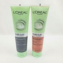 2X L'OREAL Paris Brighten + Exfoliate Detox Refine Pure Clay Cleansers 4.4oz ea - $16.16