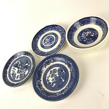 Lot of 10 Vintage Porcelain Blue Willow Blue & White Small Bowls and Saucers - $34.60