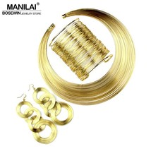 MANILAI Women Fashion Jewelry Set Multilayer Metal Wire Chokers Necklace... - $33.69