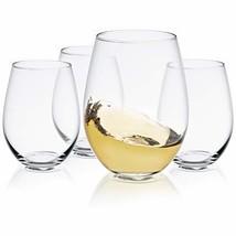 JoyJolt Spirits Stemless Wine Glasses 19 Ounce Set of 4, Great For White... - $18.24
